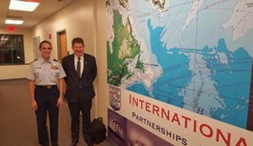 Michael Kingston with Commander Gabrielle McGrath USCG and Head of the International Ice Patrol, at International Ice Patrol Head Quarters, New London, United States, December 2015 following his Keynote speech on Arctic Regulatory Safety. The International Ice Patrol was established following the sinking of the SS Titanic.