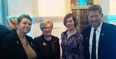 Dr Heike Deggim, Director Maritime Safety Division, International Maritime Organization, Mrs Mary Kingston, Alexandra Shackleton, Granddaughter of Ernest Shackleton, and Michael Kingston,  at the Royal Geographical Society, London, 30 January 2020, celebrating the 200th anniversary of the first sighting of Antarctica by Edward Bransfield, from Ballinacurra, County Cork, on 30th January 1820.