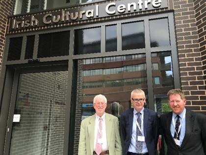 Jim O Hara, Director ICC, Irish Ambassador to UK, Adrian O Neill, and Michael Kingston, Director ICC, during the visit of the 8 Arctic States to the Irish Cultural Centre (ICC) Hammersmith, London, May 2018.